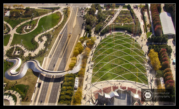 View of Jay Pritzker Pavilion & the BP Pedestrian Bridge from the top